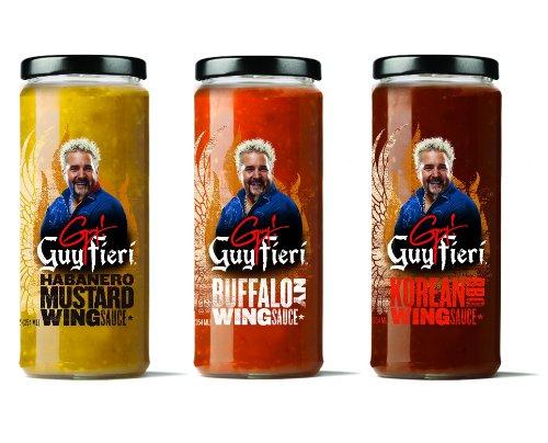 Guy Fieri Wing Sauce Combo Pack - Korean BBQ, Habanero Mustard, Buffalo NY (Mustard Buffalo)