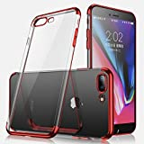 iPhone 8 Case,iPhone 7 Case,Winhoo Ultra Slim Crystal Clear Flexible Soft Cover Case with Electroplated Frame TPU Gel Case for Apple iPhone 8/7 4.7 inch(Red)