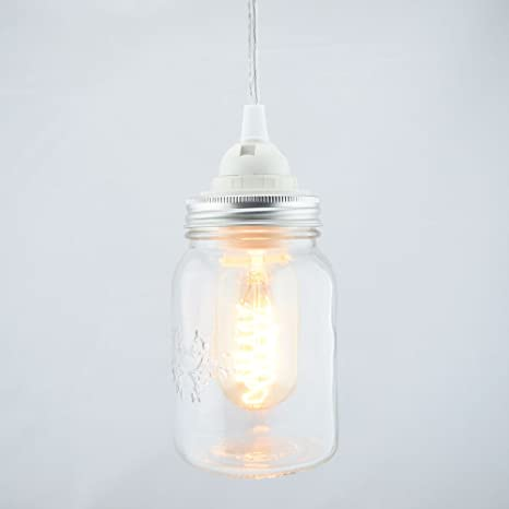 fantado mason jar pendant light kit wide mouth clear cord 15ft by