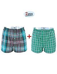 Cocobla 2 Pack Arrow Pants Lounge Shorts Plaid Cotton Stretch Sleepwear Pyjamas
