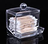 OrliverHL Acrylic Clear Cotton Ball and Swab Box Cosmetics Organizer Jewelry Box