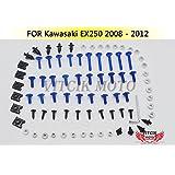 VITCIK Full Fairings Bolt Screw Kits for Kawasaki EX250R Ninja 250 EX-250R ZX250R 2008 2009 2010 2011 2012 Motorcycle Fastener CNC Aluminium Clips (Blue & Silver)