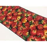 "ArtOFabric Decorative Cotton Apples on Black Print Table Runner. 12"" X 70"""
