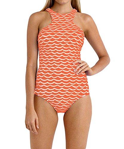 Shawhuwa Womens Tidal Wave High Neck One Piece Maillot Swimwear Medium Orange