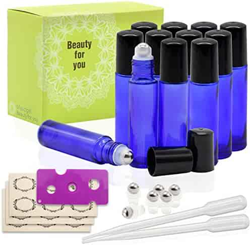 12, 10ml Cobalt Blue Glass Roller Bottles With Stainless Steel Roller Ball for Essential Oil by Mavogel - Include 6 Extra Roller ball, 18 Pieces Labels, Essential Oils Opener, 3ml Dropper