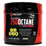 Body Shop Nutrition - 250 Octane Pre-Workout Supplement - Pump / Energy / Endurance Powder for Men and Women - Creatine Free - No Crash - Fruit Punch