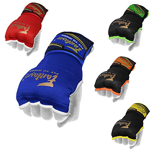 Karate Mits Punching Elasticated Padded Bandages Under Mitts - Quick Long Wrist Support, Fist Protector - Great for MMA, Muay Thai, Kickboxing & Martial Arts