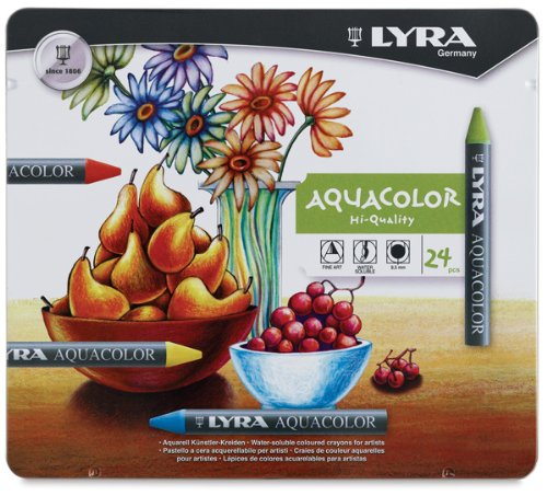 LYRA Aquacolor Water-Soluble Wax Crayons, Set of 48 Crayons, Assorted Colors (5611480)