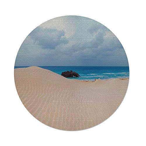 Maple Atlantic Desk (Cotton Linen Round Tablecloth,Ocean Decor,Boat Crash by Exotic Tropical Beach in African Shore Dream Atlantic Ocean Photo,Blue Cream,Dining Room Kitchen Table Cloth Cover)