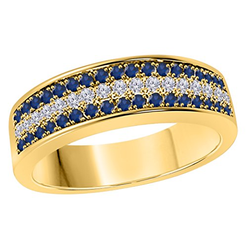 6MM 14K Yellow Gold Finish .925 Silver 0.50CT Blue Sapphire & White Cz Diamond Ring 3 Row Pave Half Eternity Men's Wedding Band Ring Size All Available by Jewelryhub