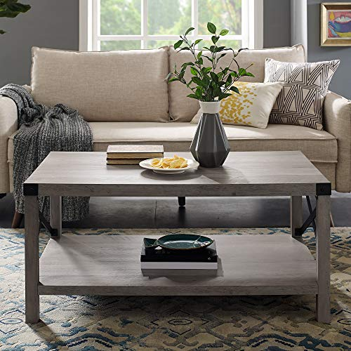 Walker Edison Rustic Modern Farmhouse Metal and Wood Rectangle Accent  Coffee Table Living Room Ottoman Storage Shelf, Grey Wash