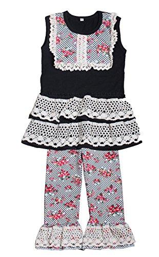 - Yawoo Haan Toddler Girls Summer Dress Capri Set Baby 2PCS Clothes Red 7-8T