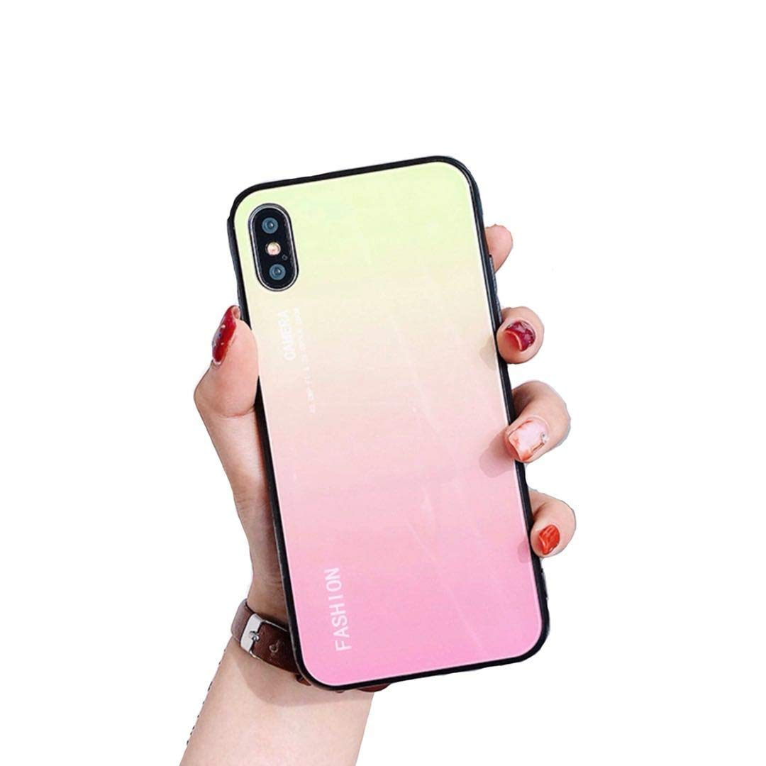 first rate 03fc0 a1a72 IPAKY iPhone Xs MAX XR Apple iPhone Xs Max Crystal Glass Bumper Soft TPU  Cover Case for iPhone XR (6.1') XS MAX (6.5') (Sunrise Pink, XR (6.1')