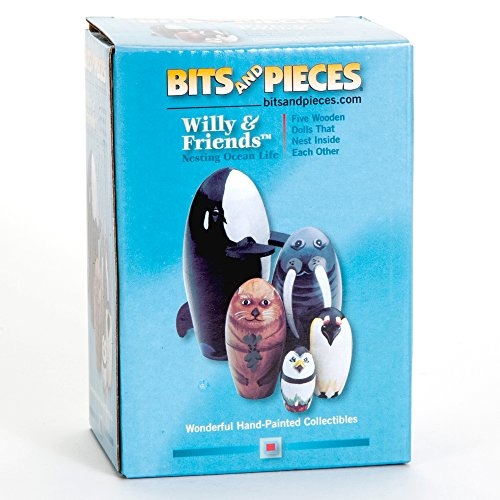 Bits and Pieces - ''Willy and Friends - Matryoshka Dolls - Wooden Russian Nesting Dolls - Sea Life Animal Figurines - Whale, Walrus, Penguin - Stacking Dolls Set of 5 by Bits and Pieces (Image #5)