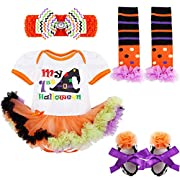 FEESHOW Infant Baby Girls Pumpkin First Halloween Costume Tutu Romper Outfit Set (3-6 Months, White 1st Halloween)
