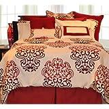 Pointehaven 9-Piece 100-Percent Cotton Luxury Bedding Ensemble, Cherry Blossom, Twin
