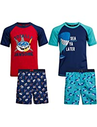Boys 4-Piece Rash Guard and Trunk Swimsuit Set (Infant/Toddler/Little Boys)