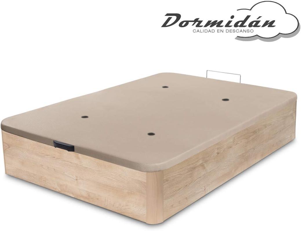 Dormidán - Canapé abatible de Gran Capacidad con Esquinas Redondeadas en Madera, Base tapizada 3D Transpirable + 4 válvulas aireación 90x190cm Color Roble