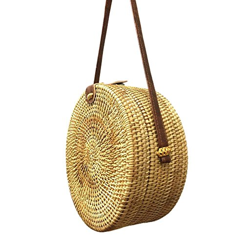 Bags Shoulder Handbag No Round Straw Rattan Woven Prosperveil 5 Messenger Summer Beach Women OwZnvqzq