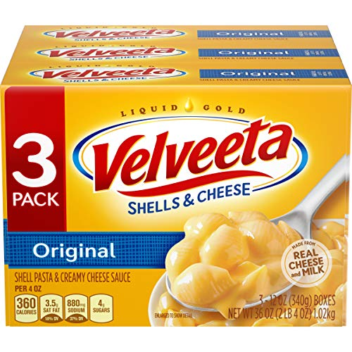 Velveeta Original Shells & Cheese Dinner (12 oz Boxes, Pack of 3) (Best Baked Mac And Cheese With Velveeta)