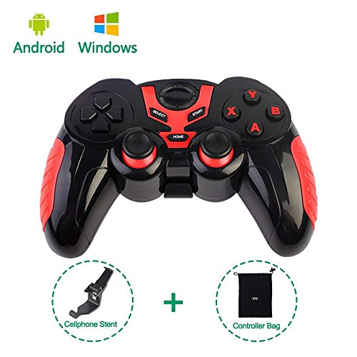 PinPle Bluetooth Game Controller Wireless Rechargeable Gamepad with Clip - Support Android/Windows - for Smartphone/Tablet/PC/TV Box (Red)