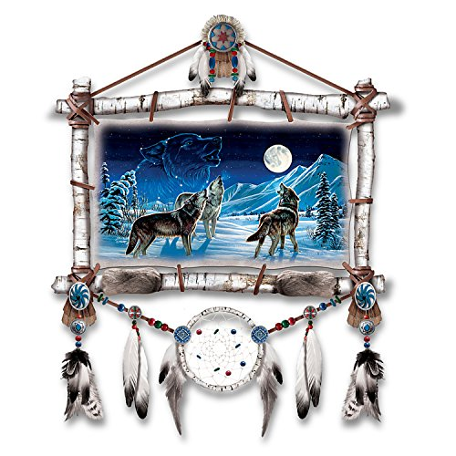 Cynthie Fisher Wolf Art Dreamcatcher Wall Plaque Lights