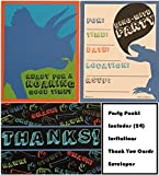 Dinosaur Invites, Invitations and Thank you Cards bundle, 24 pack includes envelopes, fill in postcard style invitations, great for parties!