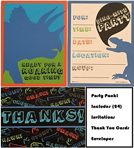 Dinosaur Invites, Invitations and Thank you Cards bundle, 24 pack includes envelopes, fill in postcard style invitations, great for parties! by Carlton Cards