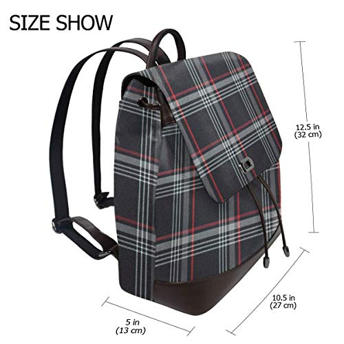 Golf GTI Plaid Face Fashion Design Leather Backpack For Women Men College School Bookbag Weekend Travel Daypack