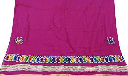 Vintage Style New Indian Dupatta Long Scarf Art Silk Embroidered Magenta Stole