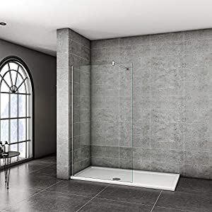 Xinyang 760x1950mm Walkin Shower Screen Panel Wetroom Shower Enclosure 8mm Easy Clean Glass with Support Bar F-131