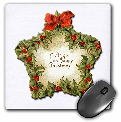 (3dRose BLN Vintage Christmas Illustration Reproductions - A Bright and Happy Christmas Star Trimmed in Holly with a Red Bow - MousePad (mp_170108_1))