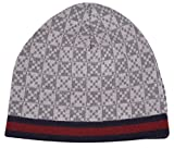 Gucci Men's Light Grey Diamante Red Blue Stripe Wool Beanie Hat Cap O/S