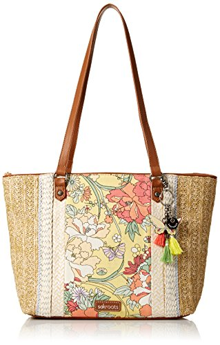 Sakroots Meadow Medium Satchel, Sunlight Flower Power Flower Satchel Handbags