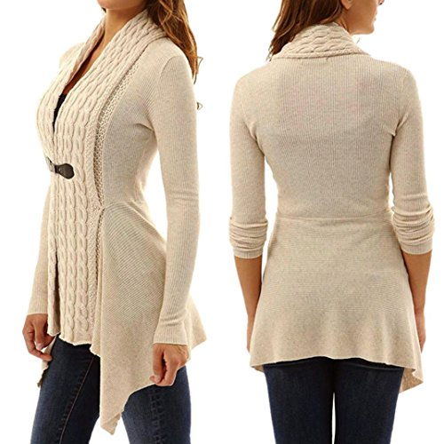 Women 3/4 Sleeve Knitted Cardigan Outwear Coat Sweater - 2