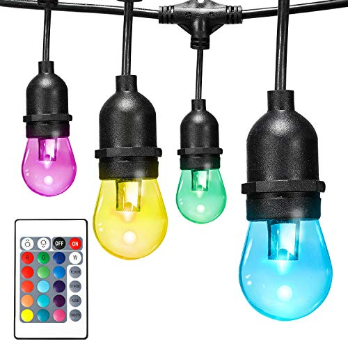 Color Changing LED Outdoor String Lights:Vintage Seasons Café String Lights 48FT with 24 Premium Impact Resistant Lifetime Bulbs - Commercial Grade Weatherproof Wireless Remote Control Included