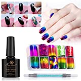 10 Rolls Red Gold Holographic Nail Foil Holo Blue Purple Nail Art Decal Design Manicure Angel Paper Nail Decal Nail Sticker with Glue Pen