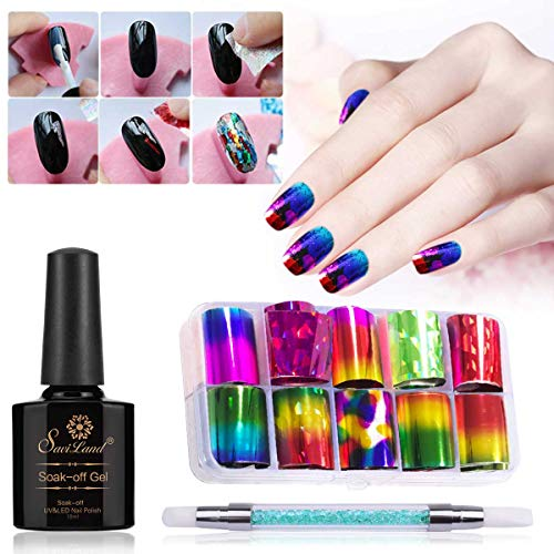 10 Rolls Red Gold Holographic Nail Foil Holo Blue Purple Nail Art Decal Design Manicure Angel Paper Nail Decal Nail Sticker with Glue Pen ()
