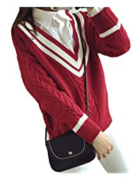 Women's V-Neck Casual Long Sleeve Pullovers Sweater Knit Cardigan