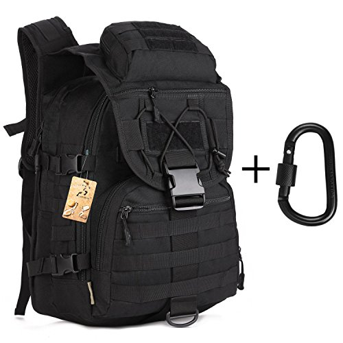 40L Tactical Backpack Large Sport Military Backpack Gear Assault Pack MOLLE Bag Digital Rucksacks Camping with Carabiner for Outdoor Hiking Climbing Trekking War Game - Black