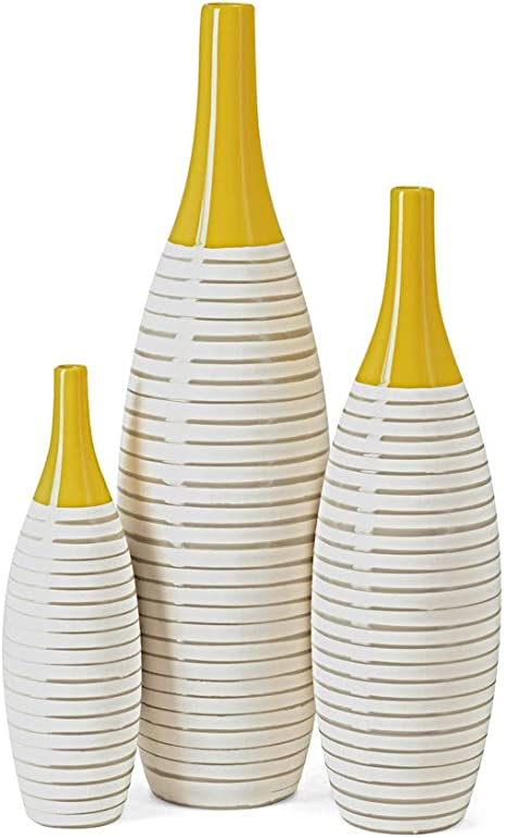 Amazon Com Imax 11217 3 Andean Multi Glaze Vases Set Of 3 Fine Ceramic Vases With Yellow Glaze Hand Painted Neutral Stripes Home Decor Accessories Home Kitchen
