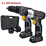 Werktough CC006 Cordless Drill Driver Impact Screwdriver Kit Double Li-on Battery With Charger 1/4″