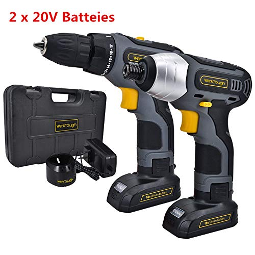 17pcs Cordless Drill Driver Impact Screwdriver Combo Kit Double Li-on Battery With Charger 1/4