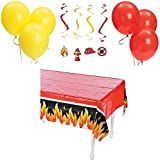 Fireman Hero Party Decorations Kit Bundle (1 Tablecover, 12 Firefighter Hanging Swirls & 12 Balloons) by FX