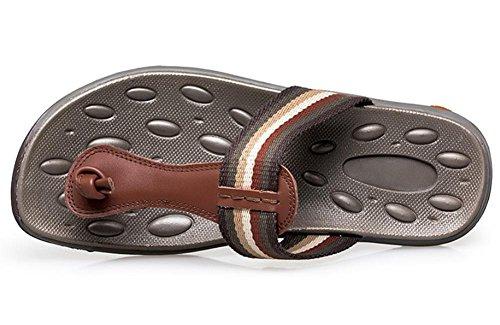 de 2017 del verano nuevos hombres zapatillas de cuero ocasionales de las sandalias sandalias de moda transpirable