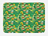 Lunarable Country Bath Mat, Abstract Colorful Urban Village Comic with Buildings Trees Streets Town Landscape, Plush Bathroom Decor Mat with Non Slip Backing, 29.5 W X 17.5 W Inches, Multicolor