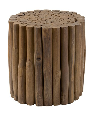 East At Main Mathis ton Brown Round Teakwood Foot Stool, (15x15x16)