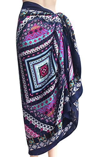 Oryer Womens Sarong Wrap Beach Pareo Swimwear Sarongs Cover up Swimsuit Wrap (Sarong Pareo Up Cover)