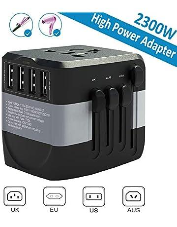 travel adapter 2300w international power adapter w/4 fast charging usb 3 0  ports, universal