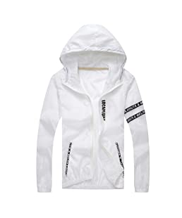 ANJUNIE Parkas for Men Casual Outdoor Sportswear Windbreaker Lightweight Bomber Jackets (White,L)